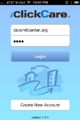 Log in screen for iClickCare